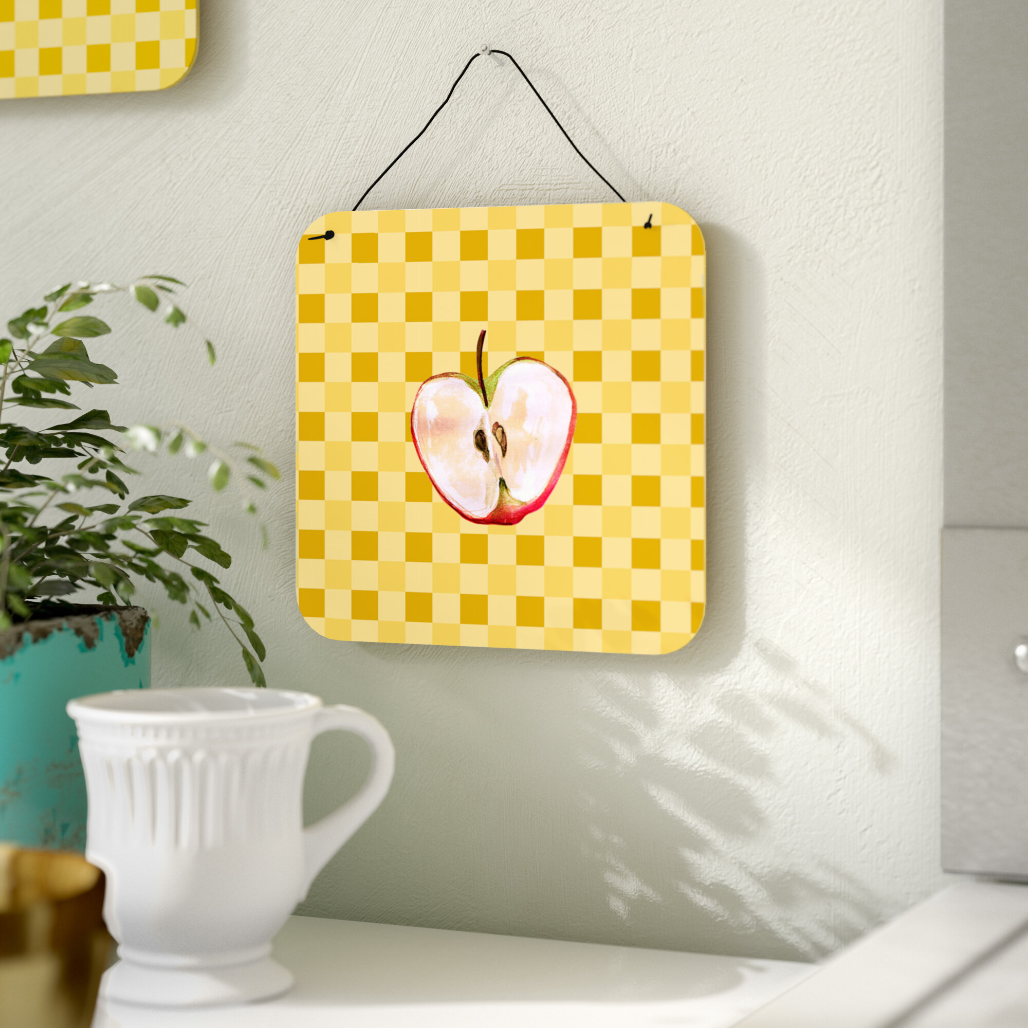 August Grove Half Apple on Basketweave Wall Décor | Wayfair