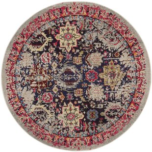 Johanna Power Loomed Beige/Red Area Rug by Bungalow Rose