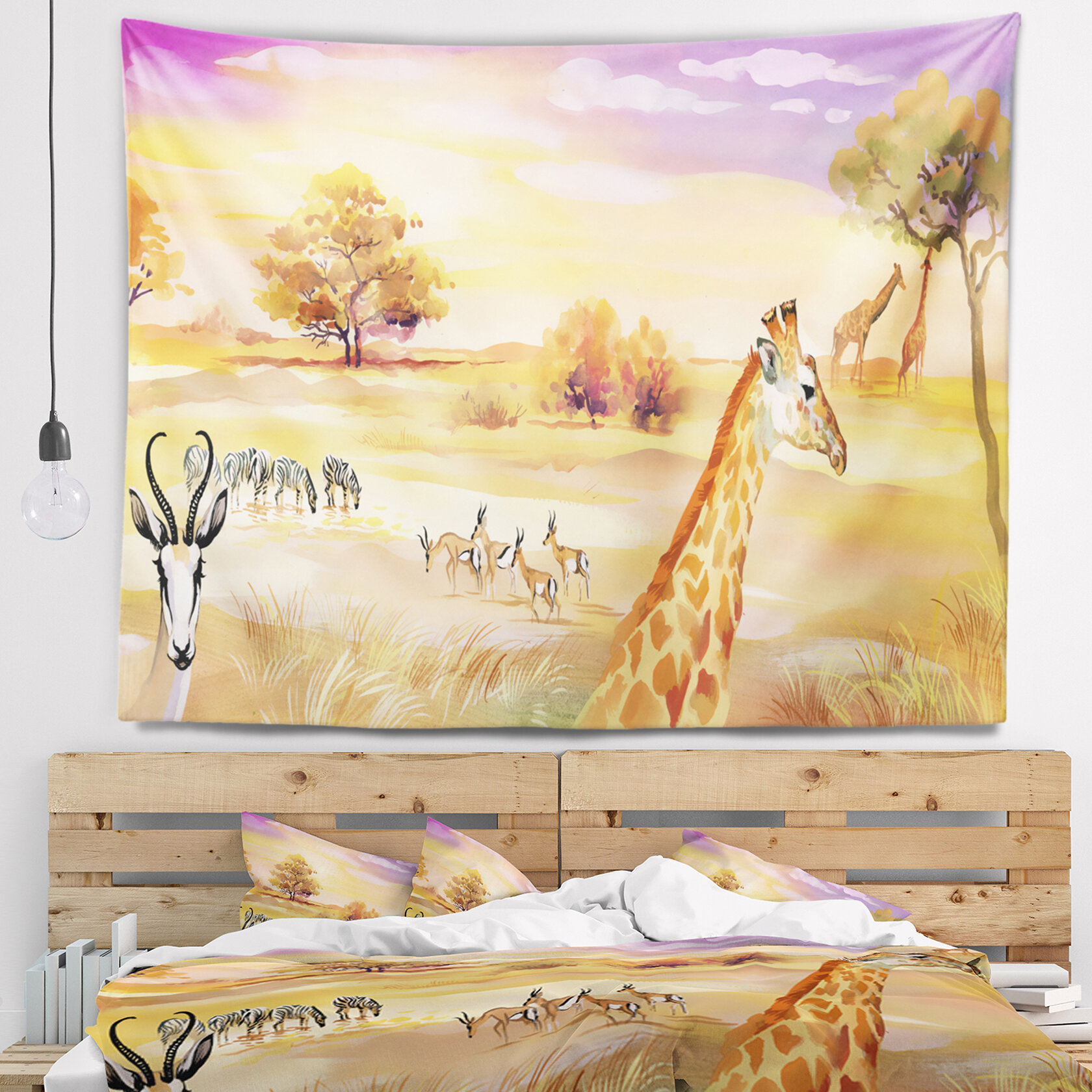 East Urban Home Wildlife of Savannah Illustration Tapestry and Wall ...
