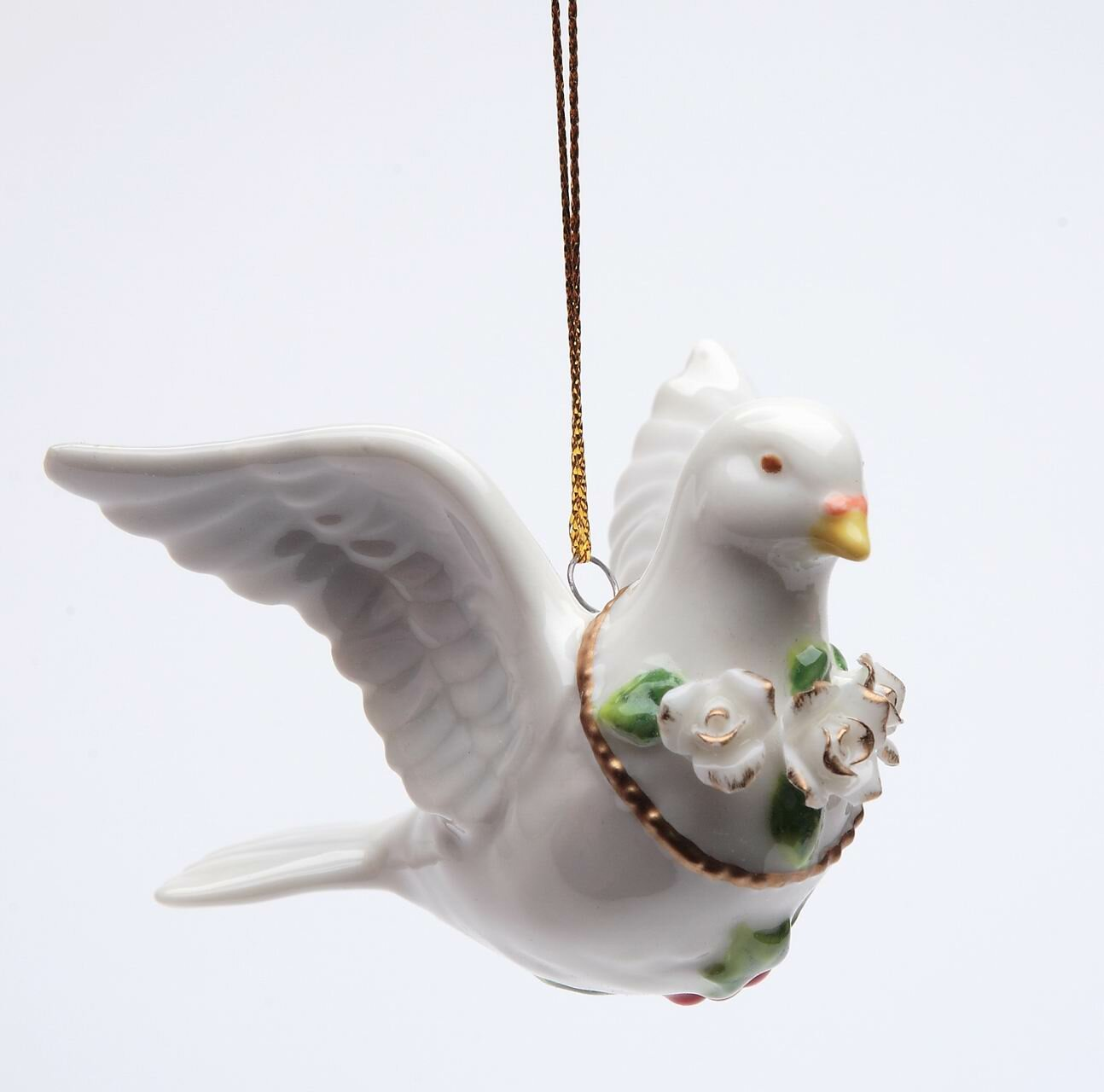 The Holiday Aisle Dobbins Dove With Roses Hanging Figurine Ornament Wayfair