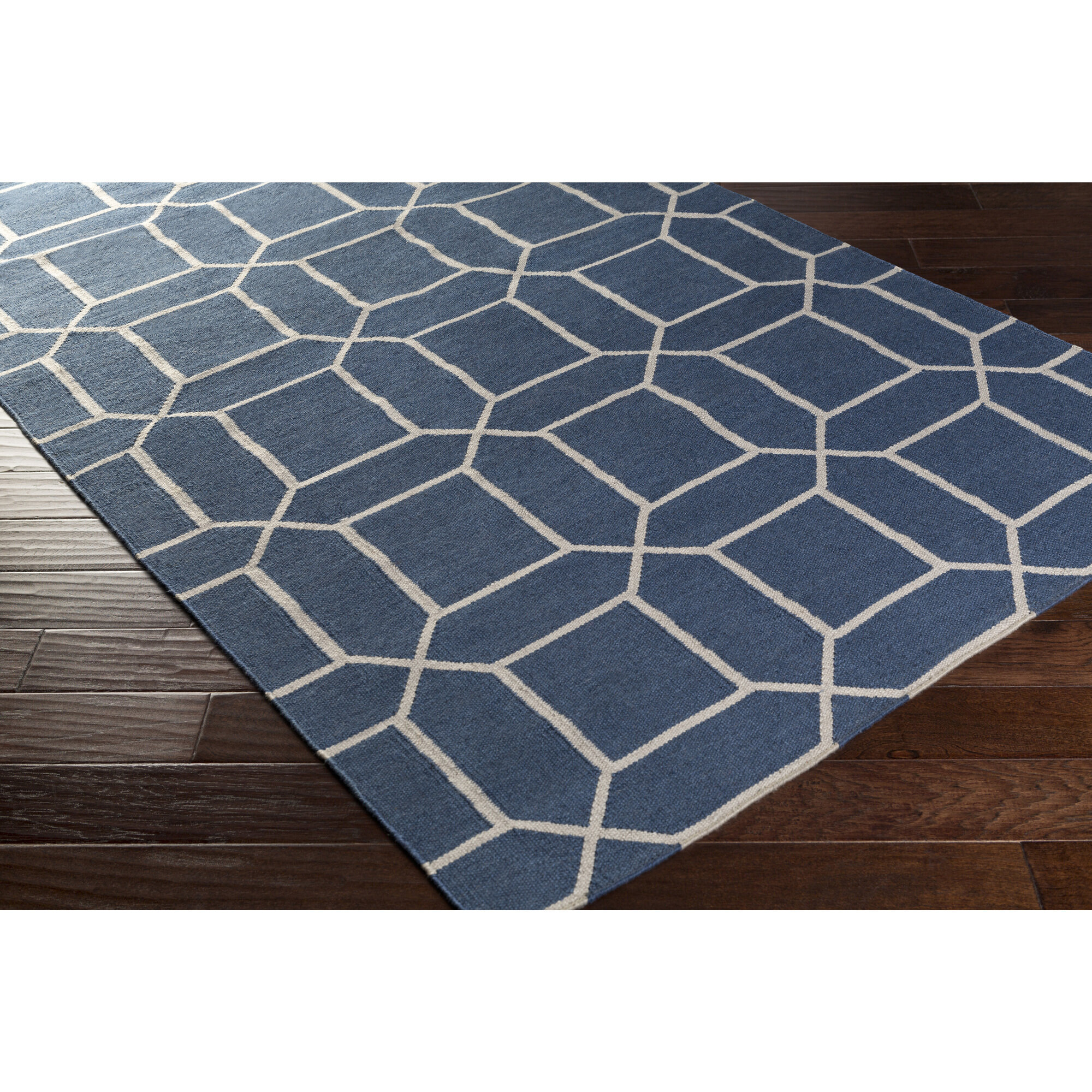 Charlton Home Larksville Geometric Handwoven Blue Indoor Outdoor Area Rug Reviews Wayfair