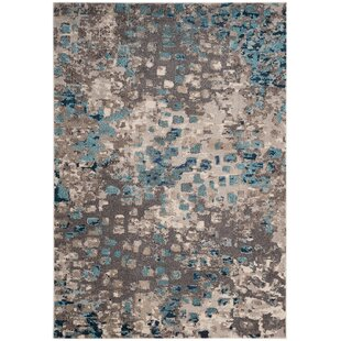 Indira Gray & Light Blue Area Rug By Mistana