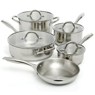 Lexie 9 Piece Stainless Steel Cookware Set with Lid
