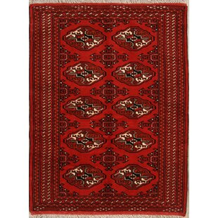 Savings One-of-a-Kind Lattimer Classical Balouch Bokhara Turkoman Persian Hand-Knotted 3'1 x 4'11 Wool Black/Burgundy Area Rug By Isabelline