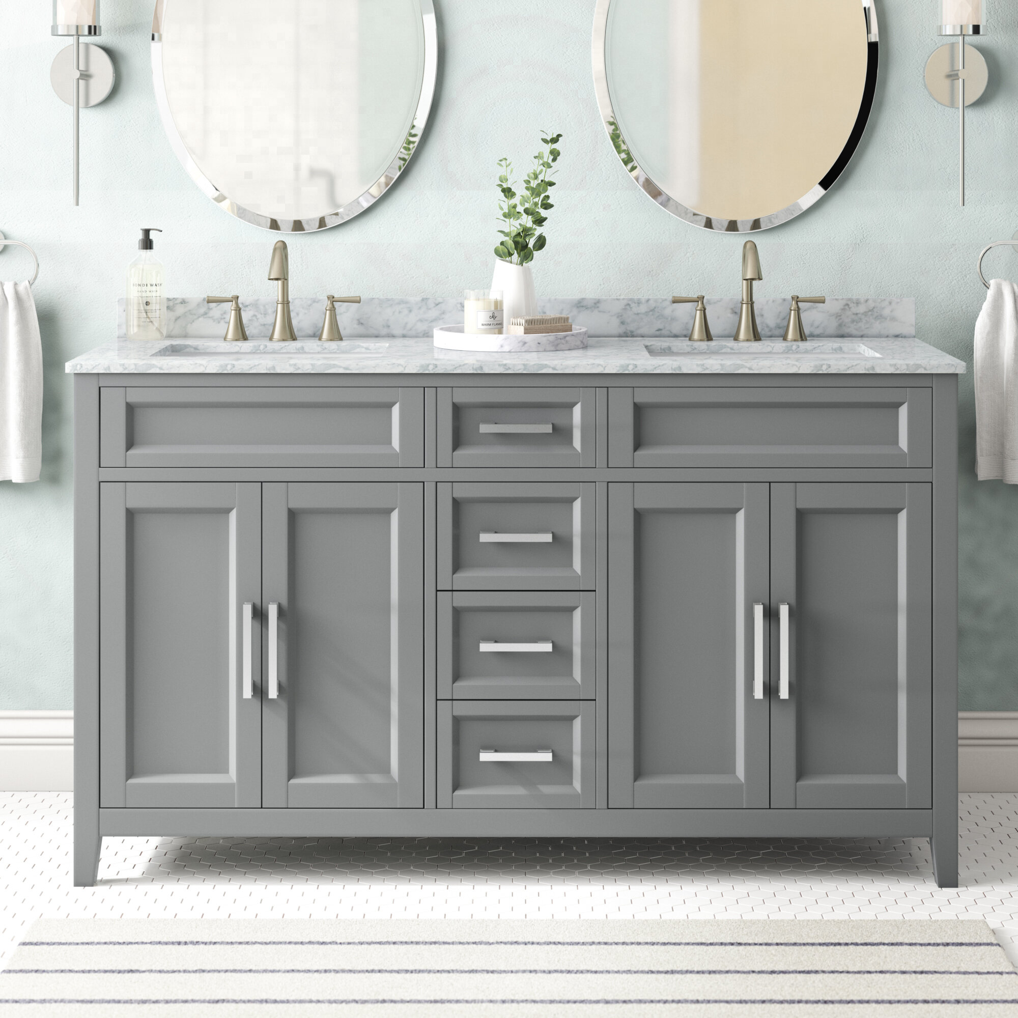 60 Gray Vanity Art Modern Bathroom Vanity Combo Set With Free Mirror Kitchen Bath Fixtures Bathroom Fixtures