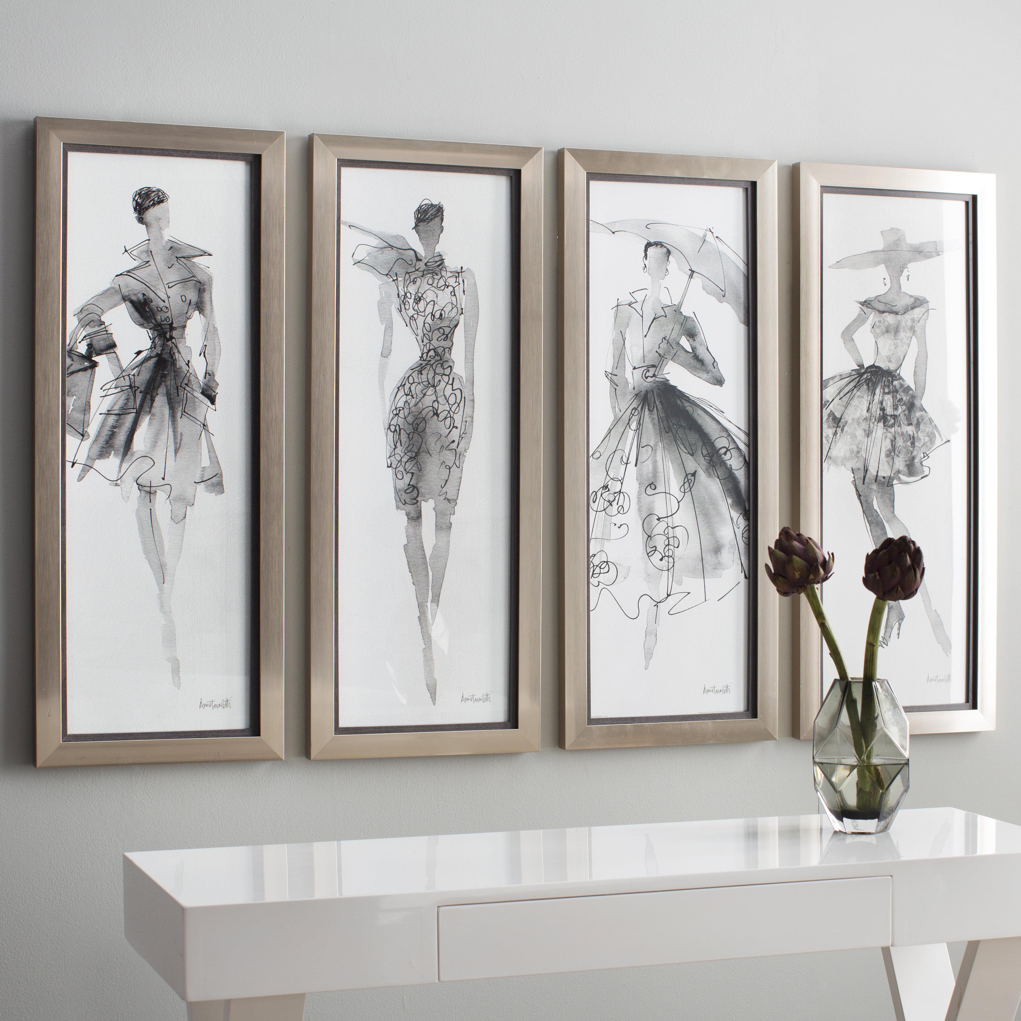 Willa Arlo Interiors \'Fashion Sketchbook Art\' 4 Piece Framed Graphic ...