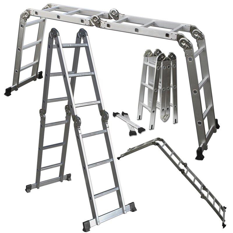 OxGord Multi-fold Multi-use 12.5 feet Aluminum Multi-Position Ladder ...
