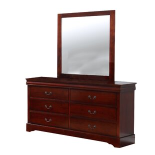 Square 6 Drawer Double Dresser with Mirror