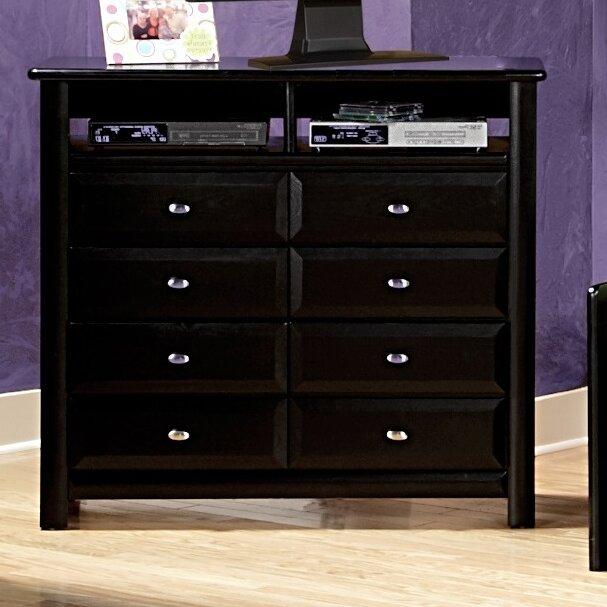 Harriet Bee Eldon 8 Drawer Double Dresser With Media Shelf Wayfair