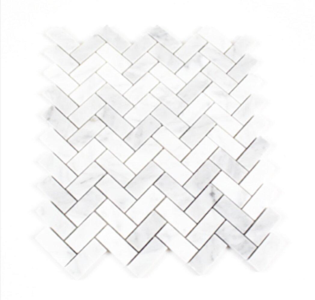 Rosabiancatileandstonellc Bianco Carrara Honed Herringbone 1 X 2 Marble Mosaic Tile Wayfair
