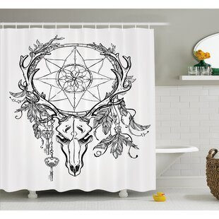 Tattoo Deer Skull with Feathers on its Antlers Holding a Star Shower Curtain Set