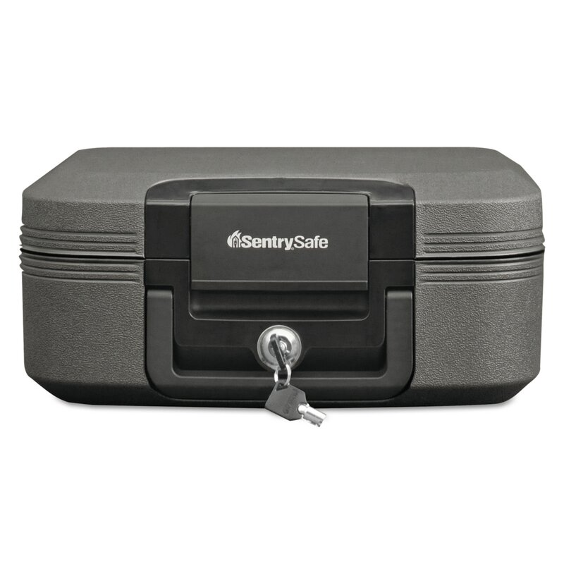 Digital Security Fireproof Document File Box Black//Silver Chest Locking Storage