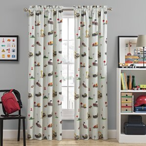 Can You Dig It Graphic Print Blackout Rod Pocket Single Curtain Panel