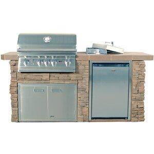 Sensational Q Brick 4-Burner Built-In Gas Grill with Side Shelves