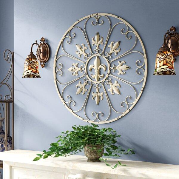 Elegant White and Copper Tone Decorative Fleur de Lis Resin Wall Cross 14 1//2 Inch