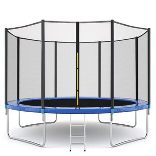 Family Kids Large Indoor or Outdoor Trampoline Durable Child Trampoline with Stair U-Leg for Yard,Garden Kids Trampoline with Enclosure Net,12FT High Elasticity Trampoline with Safety Enclosure