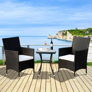Mowgli 3 Piece Rattan Bistro Table and Chair Set with Cushion by Bay Isle Home