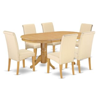 Paras Oval Room Table 7 Piece Extendable Solid Wood Dining Set Charlton Home