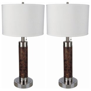 Marbleized Steel Cylinder 26 Table Lamp (Set of 2)