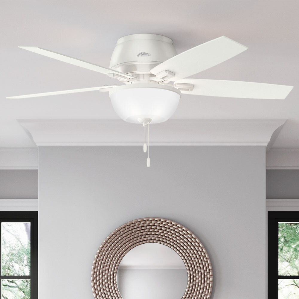 Hunter Fan 52 Donegan 5 Blade Flush Mount Ceiling Fan With Pull Chain And Light Kit Included Reviews Wayfair