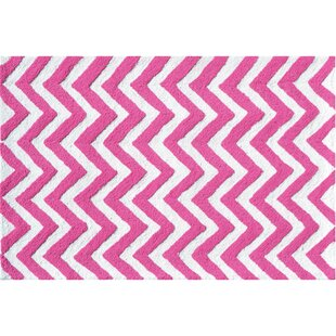 Hand-Hooked Pink/White Indoor/Outdoor Area Rug