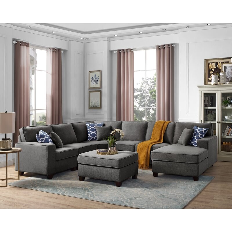 "Laureen 124"" Left Hand Facing Modular Large Sectional with ottoman"