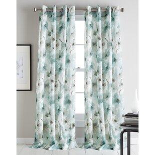 Modern Bloom Floral/Flower Sheer Grommet Single Curtain Panel by DKNY