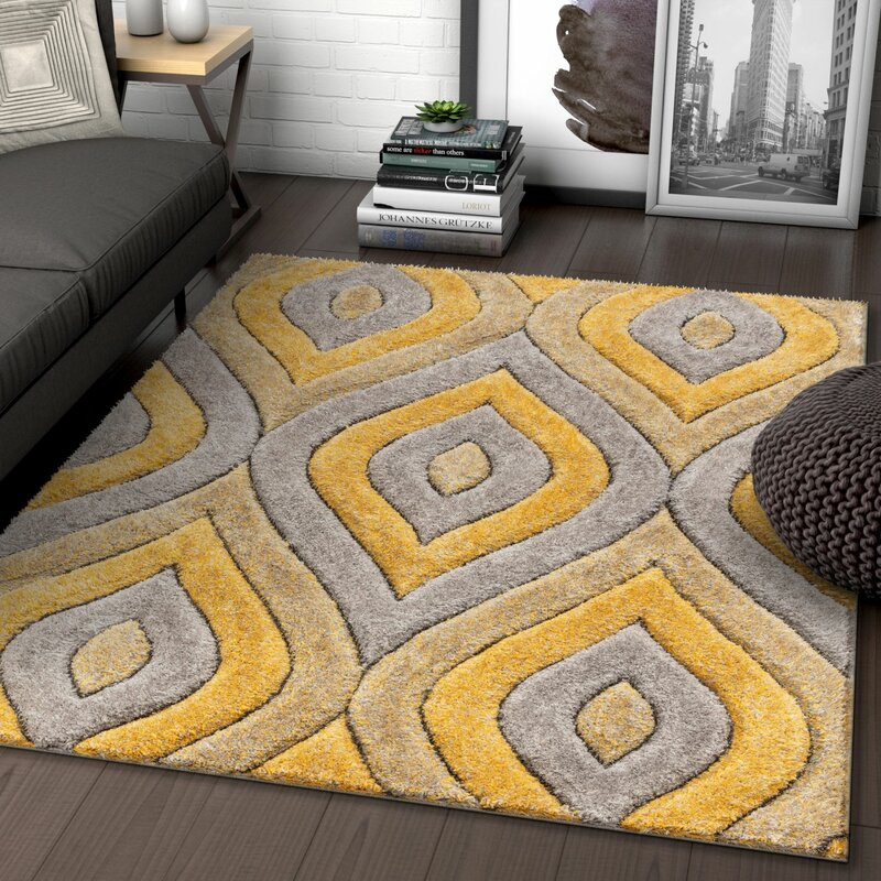 Well Woven San Francisco Shag Yellow Gray Area Rug Reviews Wayfair