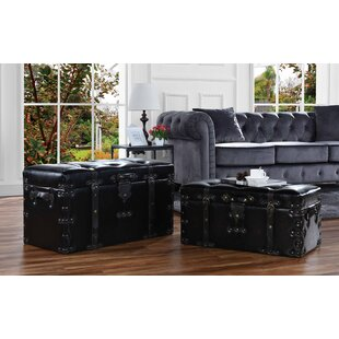 Charlton Home Lyle 2 Piece Classic Faux Leather Trunk Set