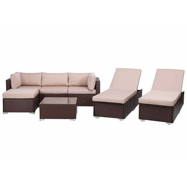 Latitude Run Su Outdoor 7 Piece Rattan Sectional Seating Group With Cushions Wayfair