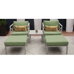 Carlisle Outdoor 5 Piece Conversation Set with Cushions