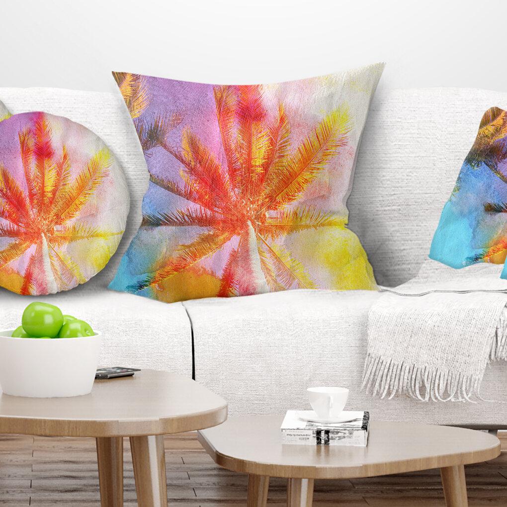 East Urban Home Landscape Reflective Retro Palm Trees Pillow Wayfair
