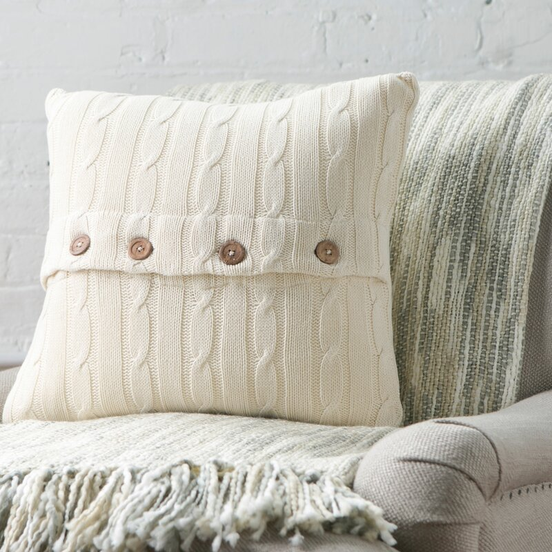 Harrietstown Cable Knit 100% Cotton Throw Pillow
