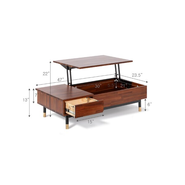 Camryn Solid Wood Storage Lift Top Coffee Table Reviews Allmodern