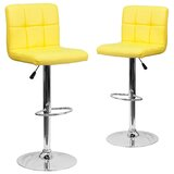 Leonardo Adjustable Height Swivel Bar Stool (Set of 2) by Wrought Studio™