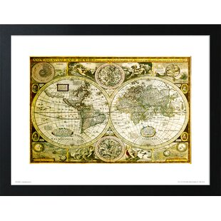 Large Framed World Map Wayfair Co Uk