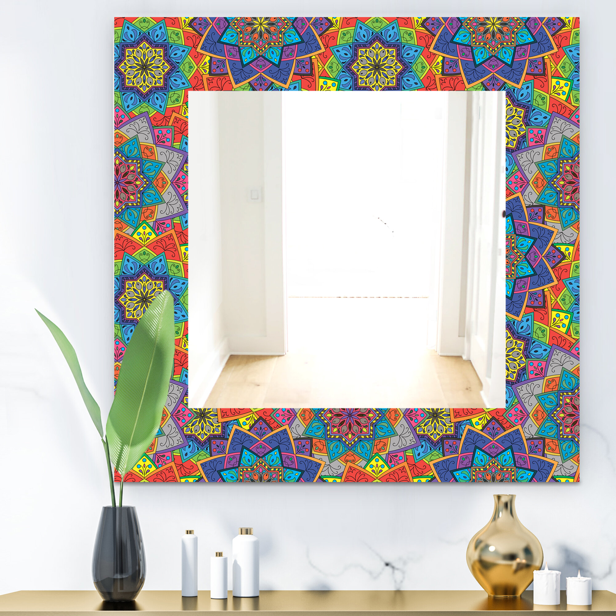 East Urban Home Designart Coloured Indian Ornament Bohemian And Eclectic Mirror Frameless Wall Mirror