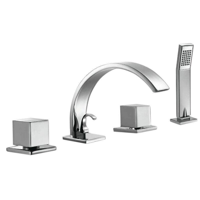 Valley Acrylic Ltd Double Handle Deck Mounted Roman Tub Faucet With Diverter And Handshower Wayfair