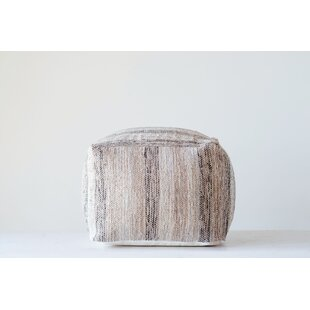 Karr Square Cotton Chindi Pouf by Bungalow Rose