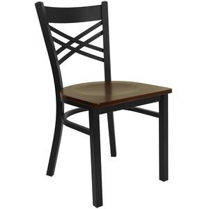 Allie Coated ''X'' Back Metal Restaurant Side Chair by Latitude Run