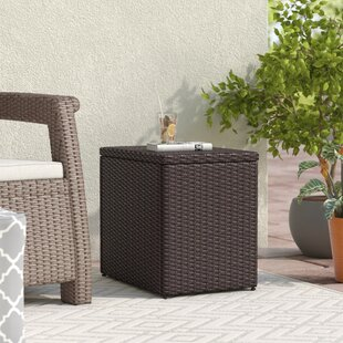 Belton Dark Brown Wicker Side Table by Mercury Row Design