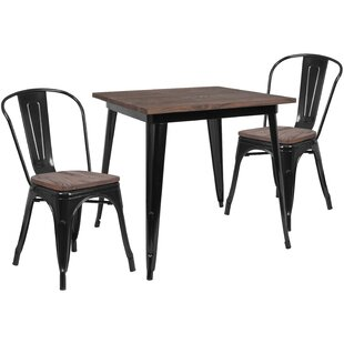 Prine 3 Piece Solid Wood Dining Set