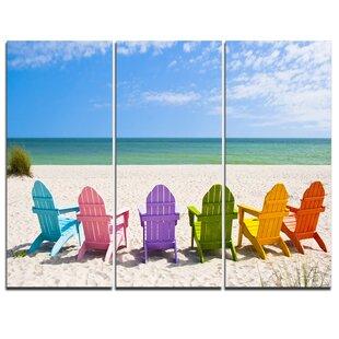 adirondack chairs on beach. Adirondack Beach Chairs - 3 Piece Graphic Art On Wrapped Canvas Set Adirondack Chairs Beach A