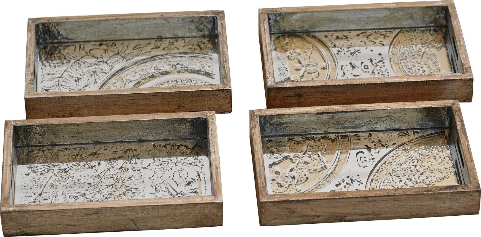 Beautiful 4 Piece Wood Serving Tray Set
