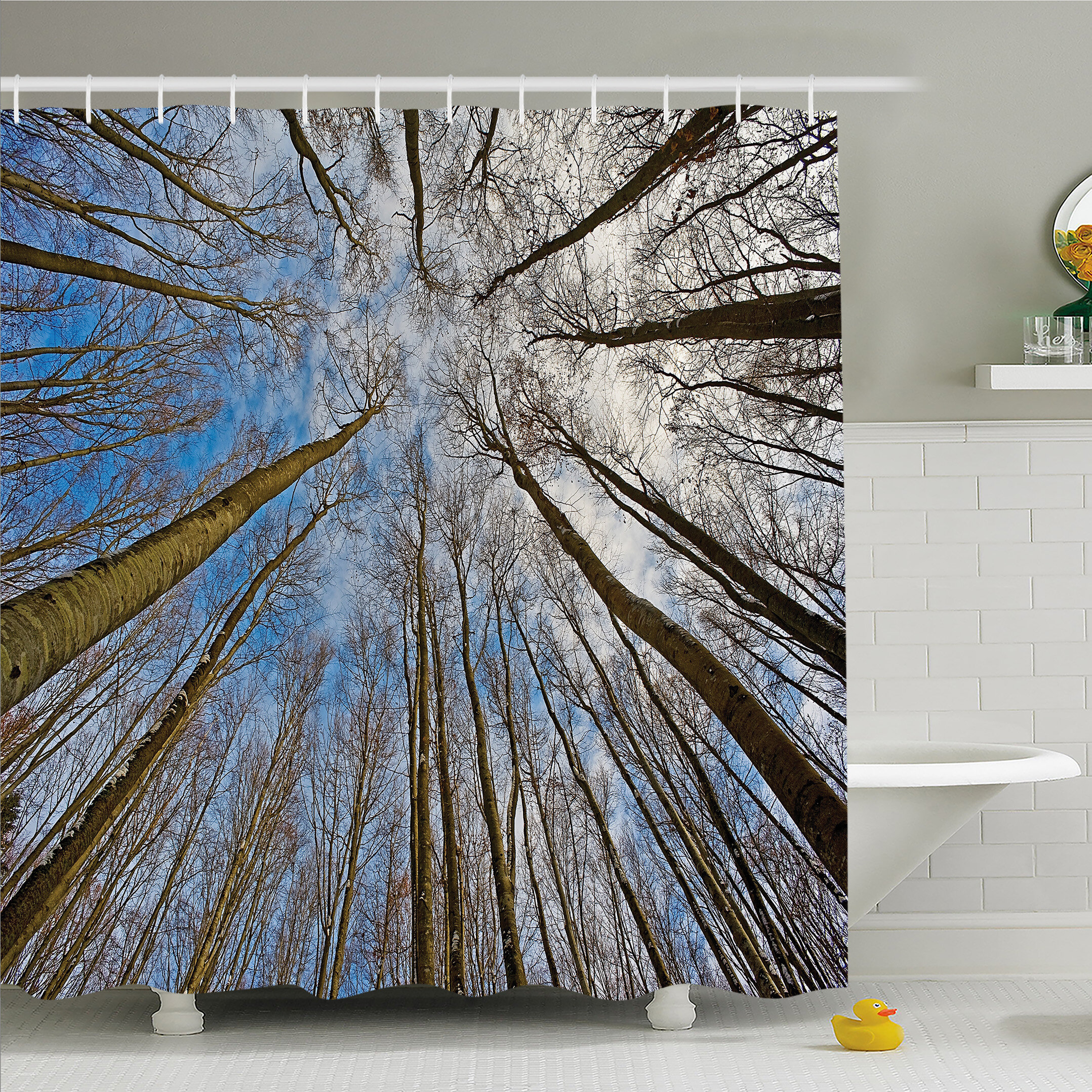 East Urban Home Forest Home Leafless Twiggy Tree Trunk Cloudy Morning Light Shower Curtain Set Wayfair