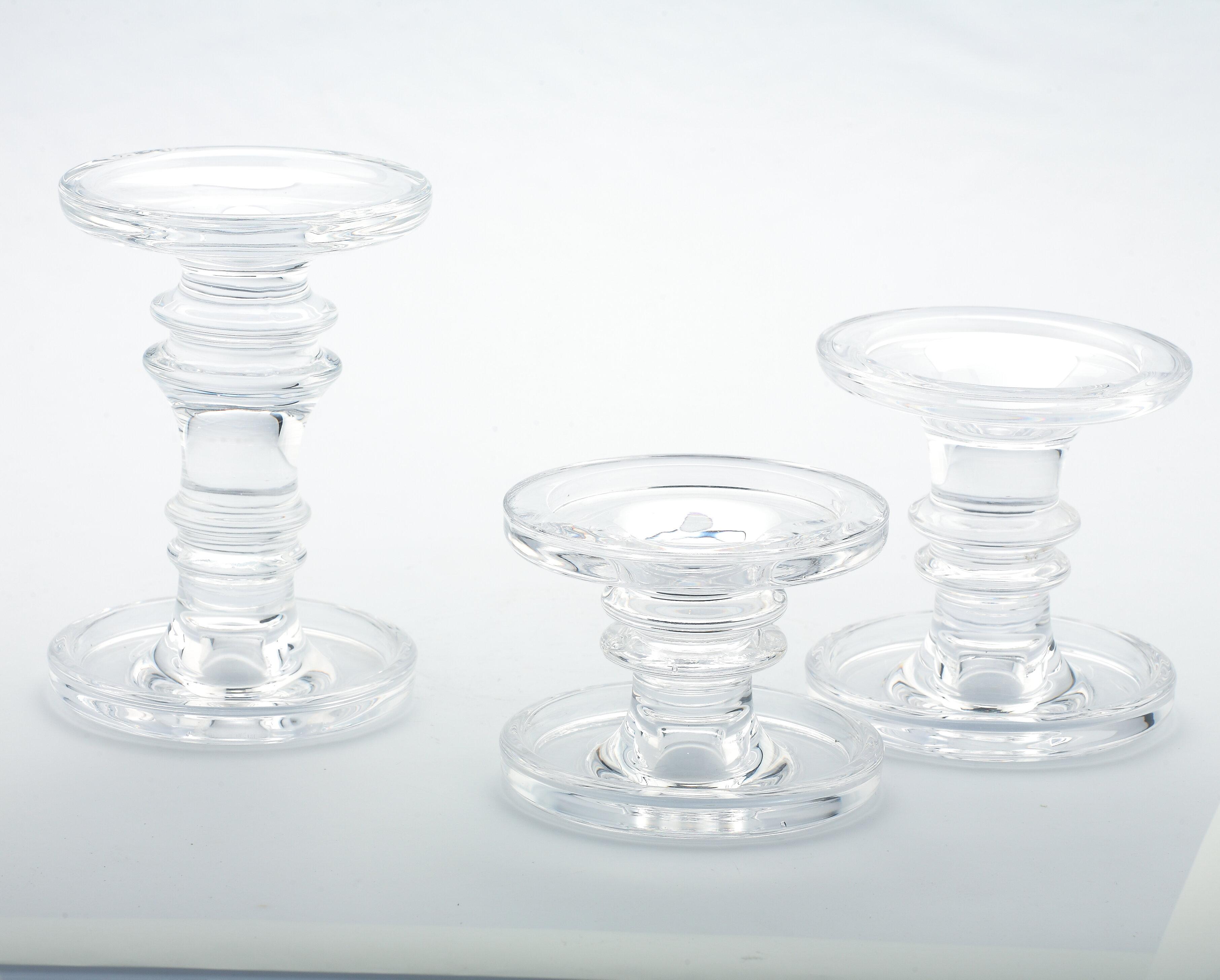 House Of Hampton 3 Piece Small Glass Candlestick Set Reviews Wayfair