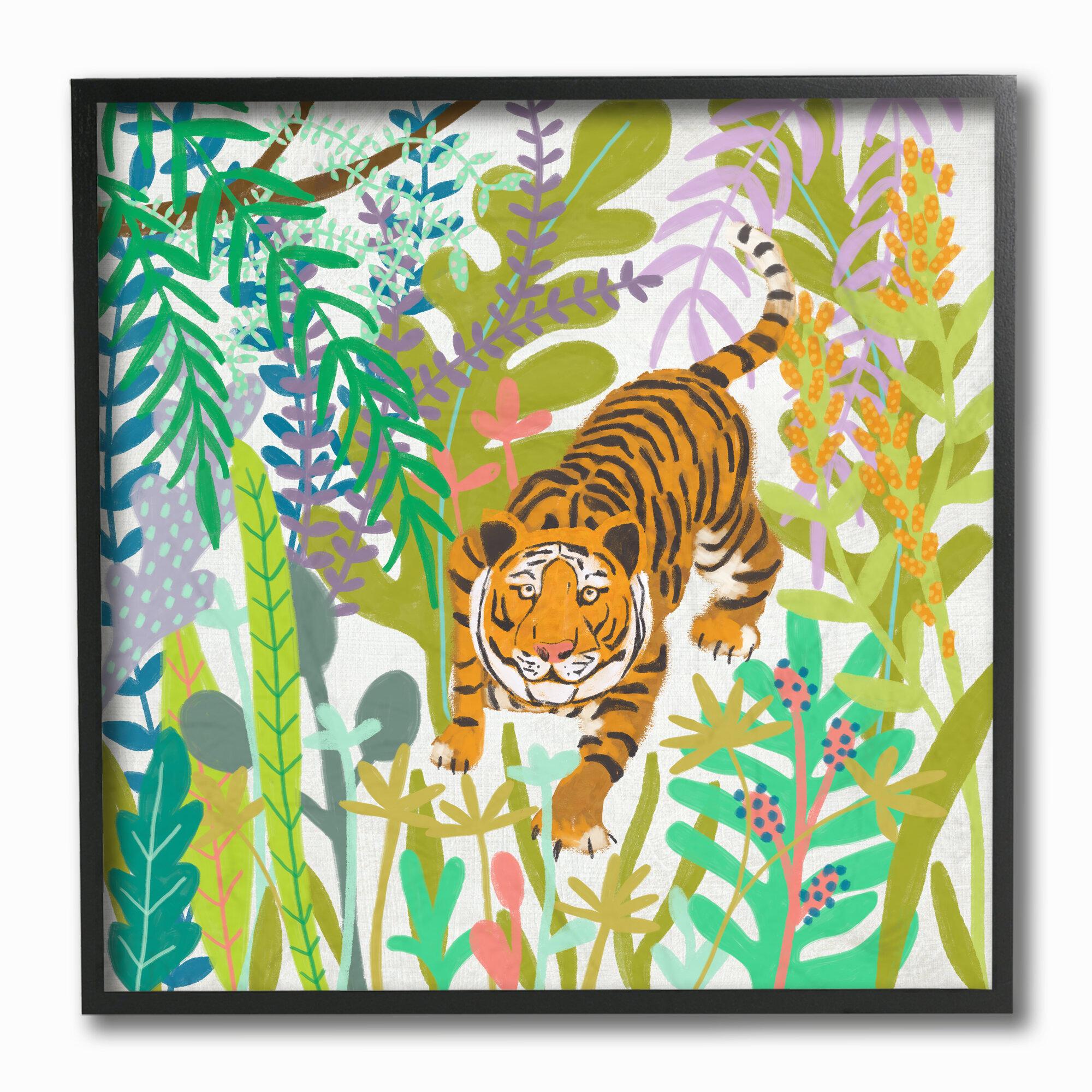 3 Modern Jungle Prints Lion Tiger Black /& White Nursery Wall Art Decor Pictures