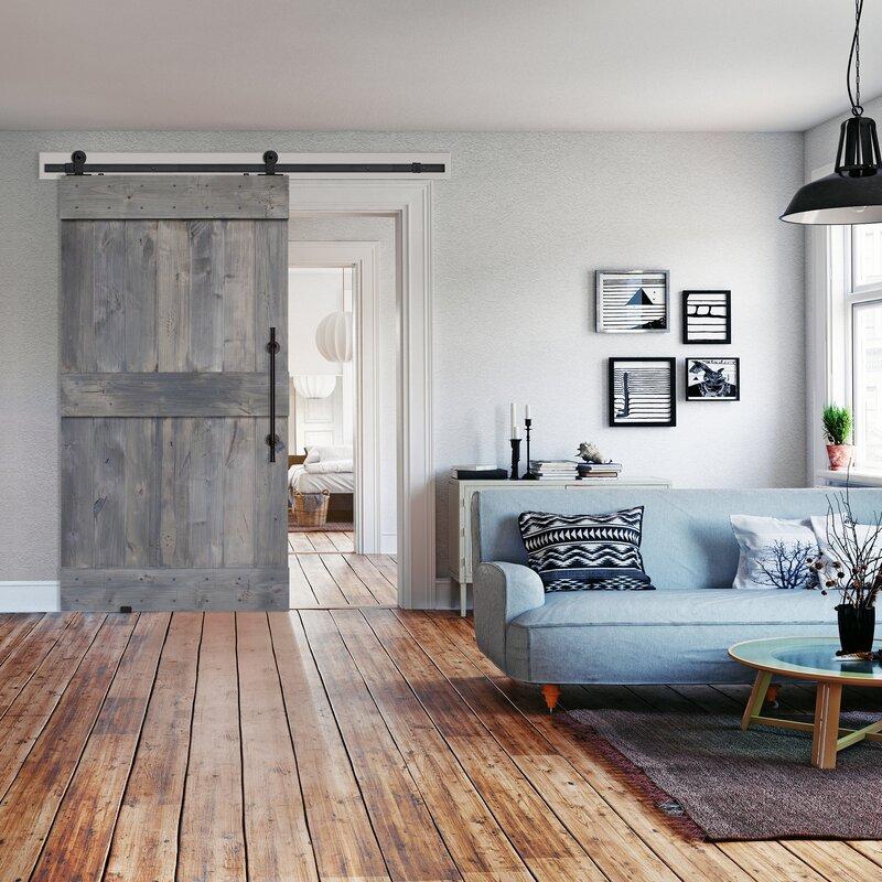 Paneled Wood Finish Barnwood Barn Door