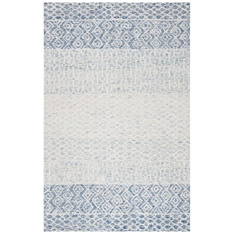 Union Rustic Deveraux Southwestern Handmade Tufted Wool Cotton Blue Ivory Area Rug Wayfair