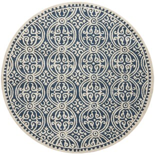 Fairburn Hand-Tufted Wool Navy/Ivory Area Rug by House of Hampton